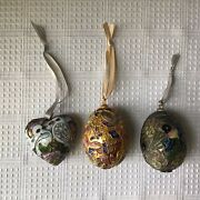 3 Vintage Chinese Cloisonne Tree Ornaments, 2 Easter Eggs, 1 Heart With Doves