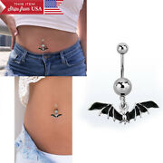 1pc 14g 7/16 Silver Steel Banana Belly Button Belly Rings With Black Bat Charm