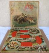 Antique Rare Mcloughlin Bros. 1896 The Wild West Game W/ Metal Indians Cavalry