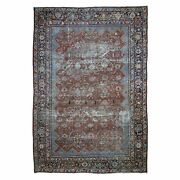 9and039x12and0399 Red Antique Mahal Clean Fine Hand Knotted Oriental Rug G48985