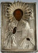 Antique 19c Russian Hand Painted Icon Of The St.nicholas With Silver Oklad