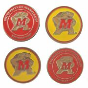Maryland Terrapins Ball Marker Set Of 4- Markers Fits Hat Clip Or Divot Tool