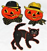 2 Vintage Luhrs Pumpkins And Black Cat Jointed Halloween Decorations New Old Stock