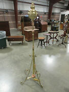 Antique Elegant Elecrified Brass And Copper Piano Lamp Stand 66 High