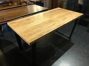 60 X 30 X 30 H Dining Table Wormy Tiger Maple With Trapezoid Base Black Metal