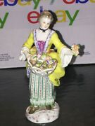 Authentic 18th Century Meissen Porcelain Figurine Statue, Girl With Flowers