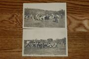1907 Real Photo Post Cards Rppc Vintage Football Equipment Lot Of 2 Caldwell Oh