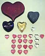As Is Lot Of 25 Vintage Heart Shaped Glass And Carved Wood Valentine Decorations