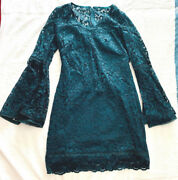 White House Black Market Bell-sleeve Lace Shift Green Dress Size 2 Xsmall.
