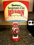Vintage Seagram's Gin Red Baron Figural Lamp Rare W/ Shade Man Cave Advertising