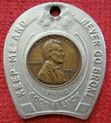 Vintage 1950's Funk Bros. Seed Company Bloomington Ill. Encased Good Luck Penny