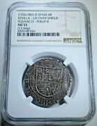 Ngc Au53 Philip Ii 1500and039s Spanish Silver 4 Reales Antique Colonial Cob Coin