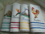 Set Of 4 Kitchen Towels Cotton Blue Red Green Yellow Vintage Unused Or Old Stock