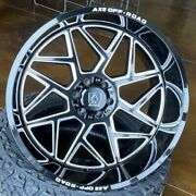 4 New 24x12 Axe Off Road Nemesis Black Milled Wheels Chevy 6x5.5 Ford 6x135