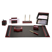 Dacasso Rosewood And Leather Desk Set 10-piece