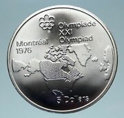 1973 Canada Queen Elizabeth Ii Olympics Montreal World Map Silver 5 Coin I83123