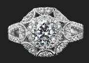 1.85 Ct Cocktail Antique Moissanite Round Halo Engagement Ring In 9k White Gold