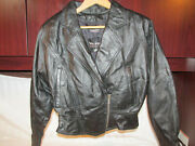 Wilson Leather Motorcycle Jacket Black Women Xs Thinsulate Removable Lining Pock
