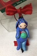 1996 Disney Christmas Ornament Eeyore W Green Ball And Red Bow In Box Great Shape