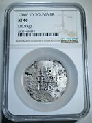 Ngc Xf40 1766 Spanish Bolivia Silver 8 Reales Antique Colonial Dollar Cob Coin