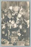Christmas Tree Covered In Postcards Rppc Rare Antique Deltiology Ornament Photo