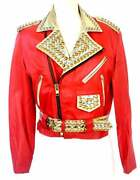 Vintage Leather Jacket Xpose Red Gold Motorcycle Biker Cropped Stud Crystal