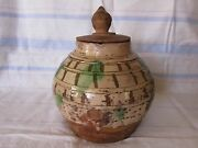 Antique Chinese 15-16 Century Earthenware Covered Jar/ Usc Fisher Museum Of Art