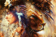 New 1000pcs Wooden Puzzle Squaw Girl And Lion Art Jigsaw Assembling Gift Toy