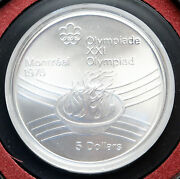 1976 Canada Montreal Olympics Torch Flame Symbol Silver Coin In Gift Case I82831