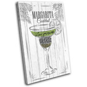 Margarita Cocktail Alcohol Bar Vintage Single Canvas Wall Art Picture Print