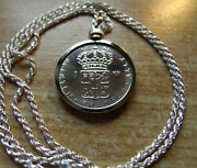 1968 Sweden Silver Krona Sparkling Coin Pendant W/ 24 Italy Silver Rope Chain