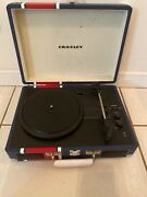 Crosley Cr8005dbt Cruiser Deluxe 3-speed Turntable Bluetooth Record Player Blue