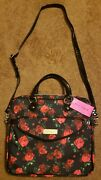 Betsey Johnson Twinkle Toes Black Laptop Bag. Red Floral. Gold Accents. Nwt Rare