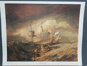 William Turner Vintage Print Boats Carrying Out Anchors... 22.5andtimes28.5 1960s