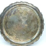 Fb Rogers Silver Co 15 Large Round Tray Etched Floral Pattern Scalloped Edge