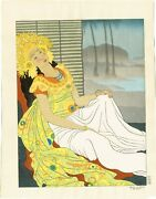 Vintage 1940 Paul Jacoulet After The Dance Celebes Woodblock Print Only 350