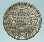 1944 India Uk States King George Vi Old Genuine Silver Rupee Indian Coin I83249