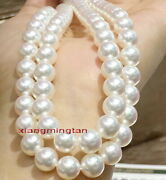 Long Top Luster Aaaaa 3511-12mm Round Real South Sea White Pearl Necklace 14k