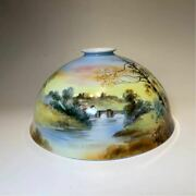 1930and039s Old Noritake Landscape Painting Lamp Shade Pottery Very Rare