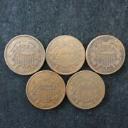 Two-cent Piece 2c 5-coin Starter Set 1864 1865 1866 1867 1871
