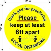Yellow Social Distancing 22 Round Floor Decal Retail Stores Single And Multi Pack
