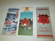Lot Of 3 Vintage State Of Wisconsin Folding Maps Highway Phillips 66 Shell Stand