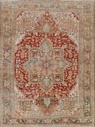 Geometric Old Antique Heriz Serapi Area Rug Hand-knotted Wool Carpet 8x11 Must C