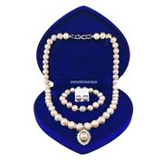 Luxurious Genuine Andaman Pearl Set Mixed Colors White And Old Rose 9-10 Mm.