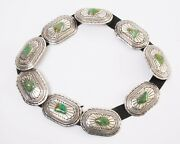Signed Ws Wilbert Secatero Navajo Sterling Silver And Turquoise Concho Belt 767g