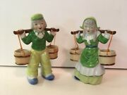 Vintage Ceramic Dutch Boy And Girl Carrying Water Buckets- Green Clothes- Japan