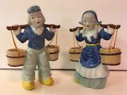 Vintage Ceramic Dutch Boy And Girl Carrying Water Buckets- Blue Clothes- Japan