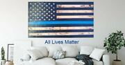 Rustic Wooden Thin Blue Line American Flag, Handmade With Actual Reclaimed Wood