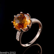 11mm Natural Round Brazil Citrine Diamond Solid 14k Rose Gold Ring Jewelry