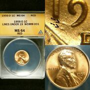 1956 D And S Wdmm-001 Fs-511 Anacs Ms 64 Rd Lincoln Cent Wheat Penny